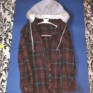 Tops - Flannel with grey hood